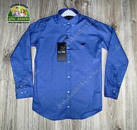 Нарядная синяя рубашка Armani для мальчика на выпускной горчичный цвет