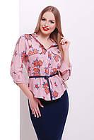 Женская хлопковая блузка в цветочек
