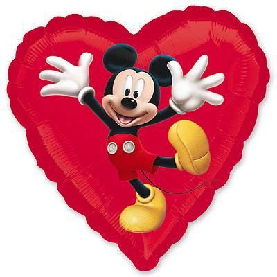 "Шар в форме сердца ""Микки Маус"""