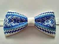 Бабочка с синим голубым орнаментом в украинском стиле, фото 1