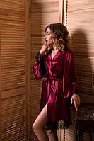 Роскошный атласный халат с кружевом шантильи Бордовый, фото 1