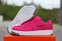 Кроссовки Nike Air Force Flyknit (розовые) кожаные кроссовки найк nike
