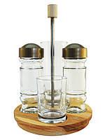 Набір для спецій 4 предмета на дерев'яній підставці, фото 1