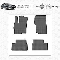 MITSUBISHI LANCER X 2008- Резиновые коврики Оригинальный размер Комплект состоит из 4-х ковриков