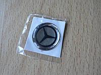 Наклейка s круглая Mercedes светл 20х20х1.2мм силиконовая эмблема логотип марка бренд в круге на авто Мерседес, фото 1