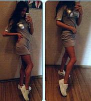 Женское мини платье с экокожей 88134