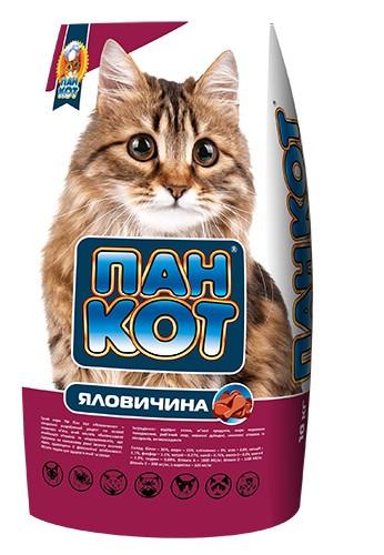 Корм для кошек Пан Кот сухой говядина 10кг