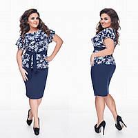 Красивый женский  темно-синий батальный костюм: кофта с принтом цветов +юбка. Арт-1306/69
