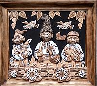 "Картина из глины ""Три охотника  """