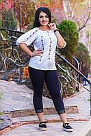 Белая летняя блуза/вышиванка больших размеров. Арт-1992/35