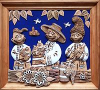 "Картина из глины ""Три рыбака"""