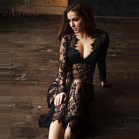 Длинное ажурное платье-пеньюар для эротической фотосессии, на романтический вечер