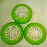 Колесо для роликов 64мм 80А ярко зелёное (салатовое), полиуретановое