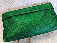 Клатч стильный красивый зеленый с блестками(Турция)