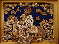 """Картина из глины """"Молодые на коне"""""""