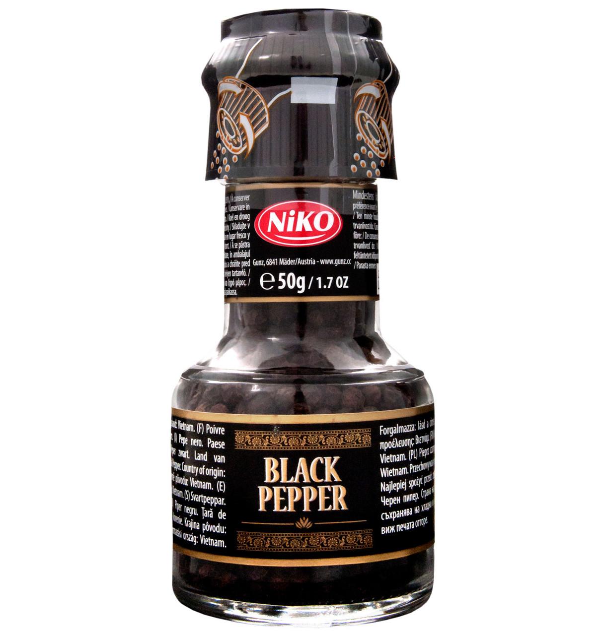 Черный перец горошком Black Peppr Niko с мельницей, 50 г