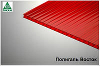 Поликарбонат сотовый Полигаль Россия 6мм красный