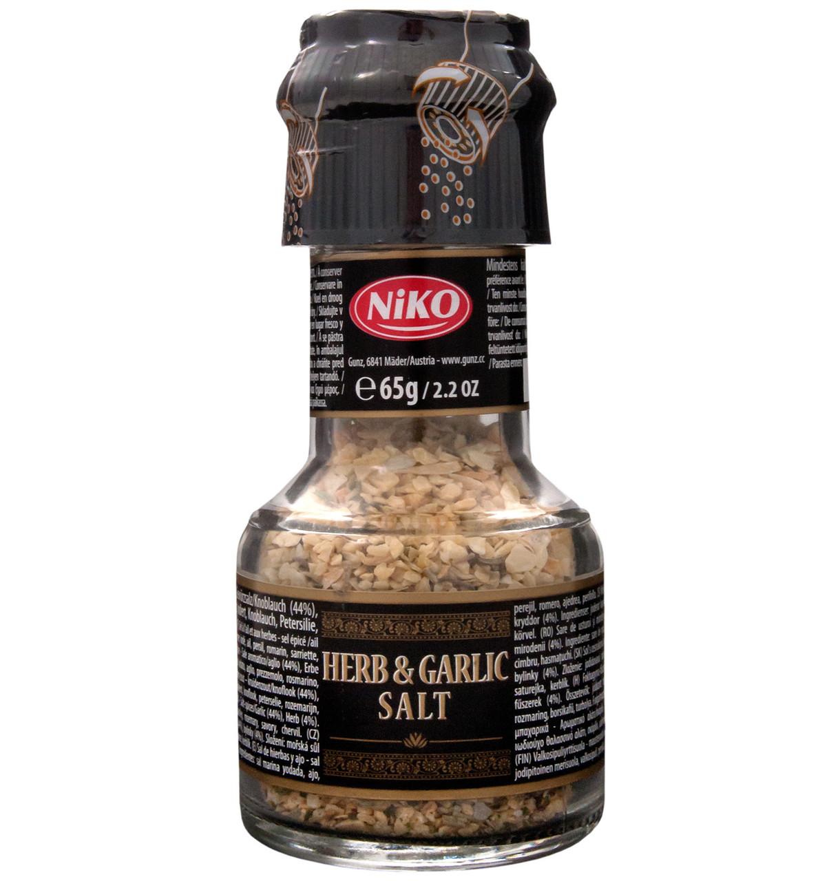 Спеції Herb & Garlic Salt Niko трави, часник і сіль з млином, 65 г