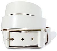 Классический кожаный мужской ремень в белом цвете (11264)