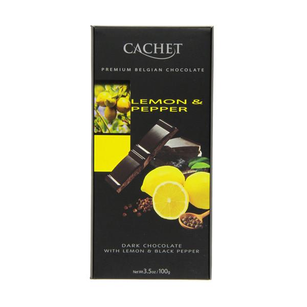 Черный шоколад Cachet «Lemon & Pepper», 100г