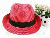 """Летний головной убор шляпка """"Федора"""" красная"""