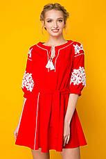 Красное платье из льна Логан, фото 3