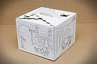 """Картонная коробка для торта 25*25*20 см """"Белая с рисунком"""""""