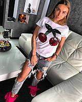 """ФУТБОЛКА """" CHERY"""". Котон с эластаном декорирован принтом из двусторонней паники . Размер единый 42-46. (10063)"""