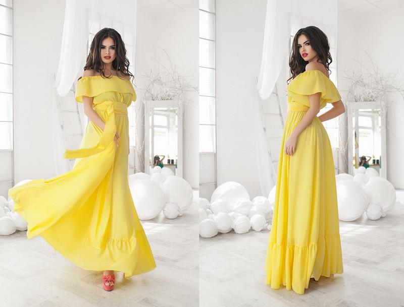Женское летнее платье в пол с открытыми плечами с воланами  +цвета