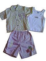 Комплект летний для мальчика, с салатовой рубашкой