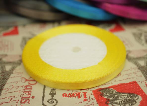 Лента атласная желтая 6мм, моток 33м., фото 2