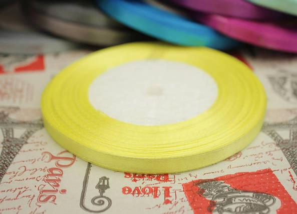 Лента атласная светло- желтая 6мм, моток 33м., фото 2