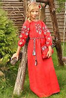 Детское вышитое платье в пол из льна красное, фото 1