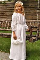Детское вышитое платье в пол из льна белое