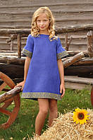 Детское вышитое платье из льна голубое