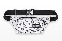 Поясная сумка бело-черная с принтом H3 MAX BW Urban Planet (бананка, сумка на пояс)