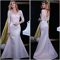 Вечернее платье (Веч-МП-17-05) для выпускного вечера, свидетельницы и пр. мероприятий (цвет - капучино, 42-44)