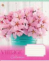 Тетрадь школьная 48 л.клетка Винтажные цветы