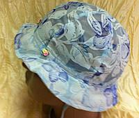 Летняя  панамка для девочки из батиста голубая