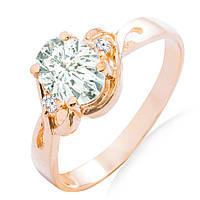 Золотое кольцо с аквамарином и бриллиантами 0,04 карат