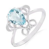 Золотое кольцо с аквамарином и бриллиантом 0,02 карат
