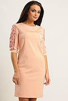 Нежно розовое платье женское рукав 3/4 с кружевными вставками