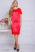 Летнее атласное платье с дорогим кружевом на рукавах и по низу большого размера 50-56 размера, фото 1