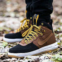 Зимние кроссовки Nike Lunar Force 1 Duckboots 2016 коричневые кожа