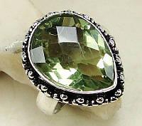 Кольцо - зеленый аметист 16р.Кольцо с аметистом зеленым.