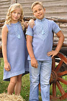 Парні дитячі вишиванки сукня та сорочка голубі