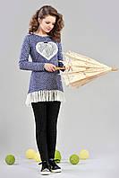 Подростковая нарядная трикотажная туника для девочки с кружевом
