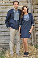 Парные вышиванки мужская рубашка и женское платье синие