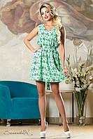 Летнее легкое платье с принтом с юбкой клеш  42-48 размера, фото 1