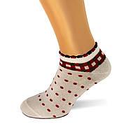Носки женские хлопок короткие белые в горошек и кубики Ж-100024